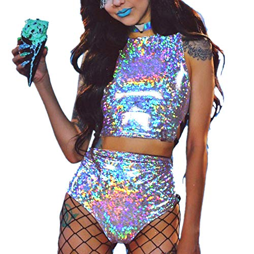 Women's Rave Clothes Criss Cross Crop Top & Booty Metallic Silver Rave Outfit