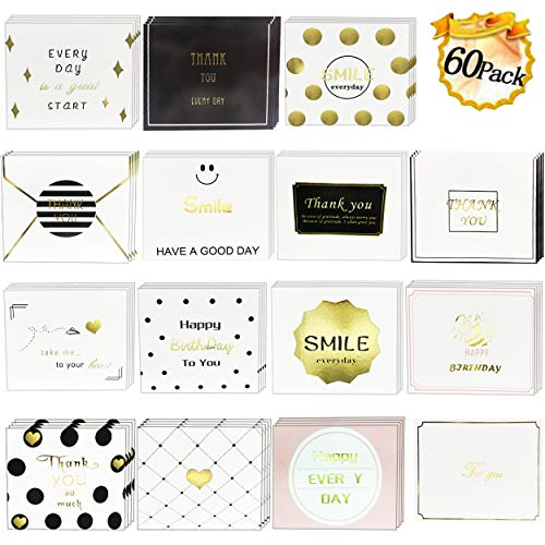 Roffel Greeting Cards Assortment - 60 Sheets Thank You Cards Notes Greeting Card with 60 Pcs Envelopes for Wedding, Christmas, Birthday Party, Baby Shower, Graduation