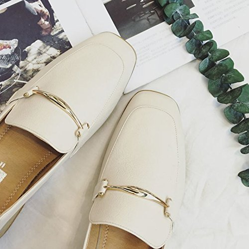 Beige Retro Block Ankle Heel CHNHIRA Mary Janes Leather Women's Shoes vwqPEnxzR