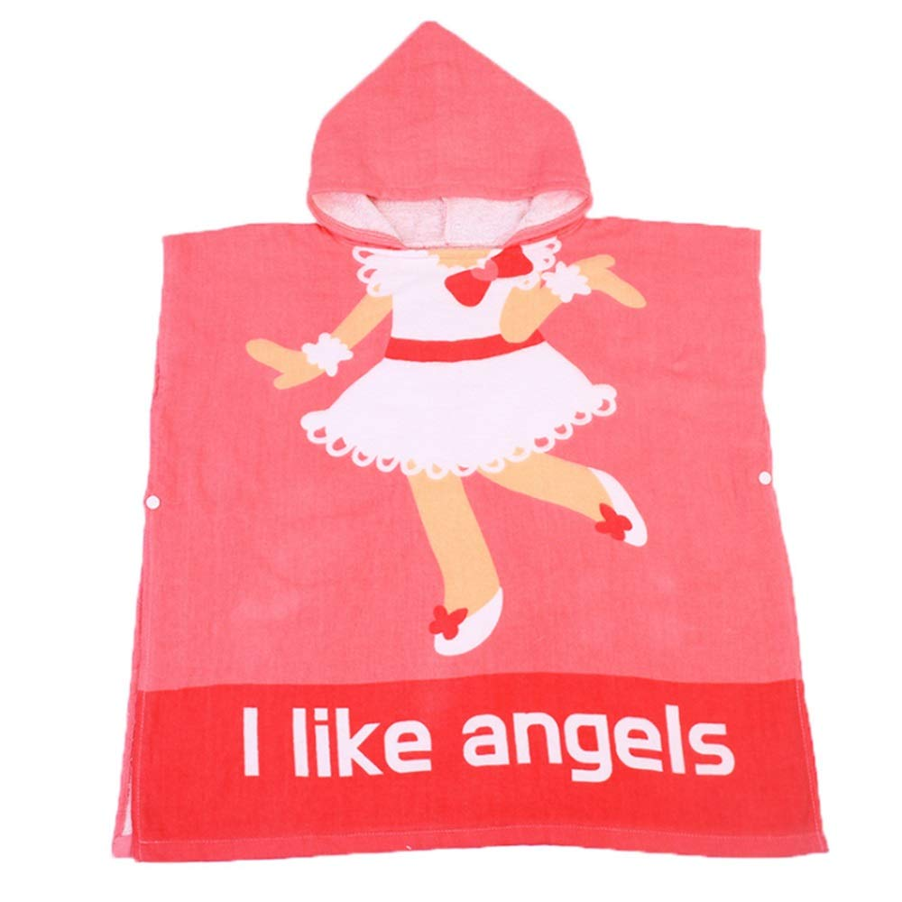 Feeryou Cute Fashion Bath Towel Hooded Design Sun Protection Skin Protection Soft Fit Skin High Water Absorption Suitable for Children 1-6 Years Old Super Strong (Color : Red, Size : 7070cm)