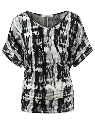 NINEXIS Women's Basic Short Sleeve Solid & Tie-Dye Dolman Top VERTICALTAN 3XL