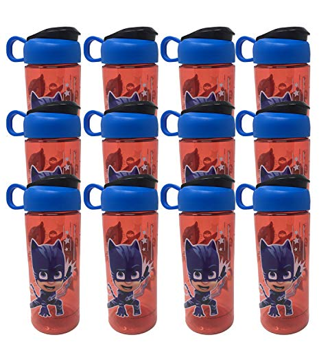 Cold Water Bottles 16.5 oz BPA Free Tritan Plastic Leak Proof Sports Designs with Carrying Handle Easy Open Cover for Kids Party Favor 12 Pcs Set
