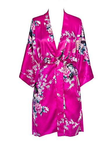 - Old Shanghai Women's Kimono Short Robe - Peacock & Blossoms - Fuchsia (On-Seam Pocket)