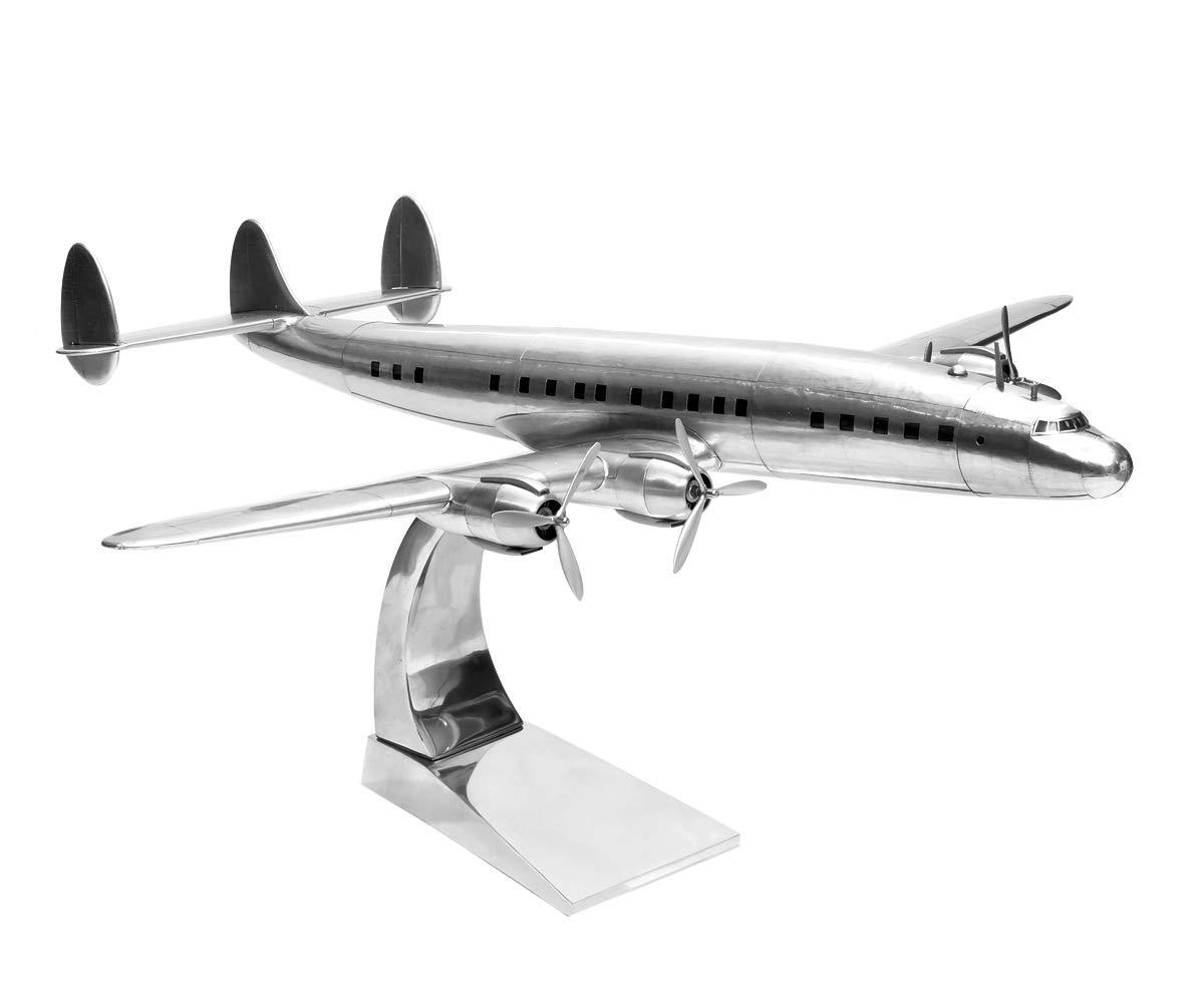 Brillibrum Design Lockheed Constellation aus Metall Holz Flugzeug Modellbau Modellflugzeug mit Standfuß Standmodell Gravur bis 35 Zeichen  Gravur bis 15 Zeichen