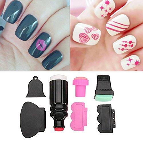 Nail Art Stamper,DANCINGNAIL Pro 7pcs Silicone Nail Art S...