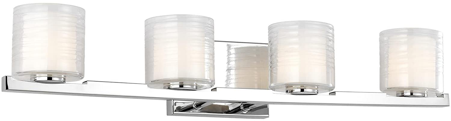 Feiss VS24204CH-L1 Volo LED Glass Wall Vanity Bath Lighting, 4-Light, 20 Watt, Chrome 31 W x 6 H