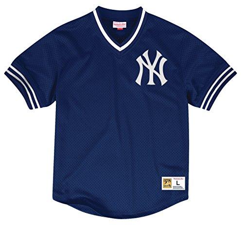 (New York Yankees Mitchell & Ness Men's Mesh V-Neck Jersey Navy (Large))