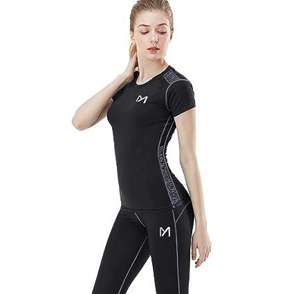 MEETYOO Camisetas Compresión Mujer, Leggings Deporte+Shirt Manga Corta Medias Deportivas Pantalones para Running Yoga Ciclismo