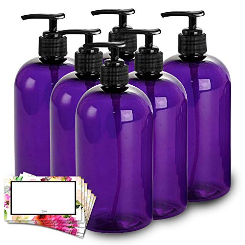 BAIRE BOTTLES - 16 OZ PURPLE PLASTIC REFILLABLE BOTTLES with BLACK PUMPS - ORGANIZE Soap, Shampoo and Lotion with a Clean, Classy Look - PET, Lightweight, BPA Free - 6 Pack, BONUS 6 FLORAL LABELS (16 Oz Shampoo Pump)