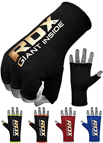 RDX Boxing Inner Mitts Hand Wraps MMA Fist Protector Bandages, Medium, Black