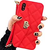 Red Quilted Leather Clutch Wallet Purse Case Credit Card Cash Cover with Strap - Estuches Fundas...