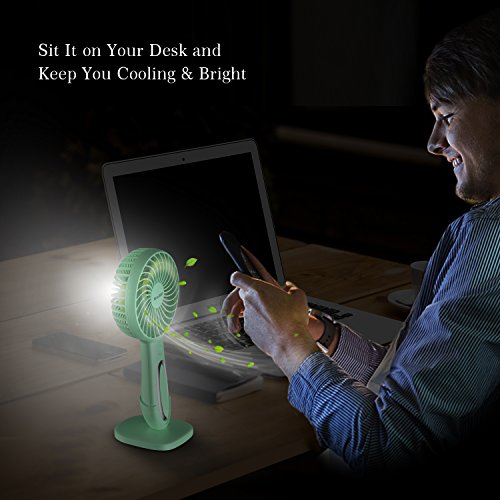 XttnBM Small Personal Desk Fan with 3-Speed and LED Lamp Portable Mini Cooling and Light for Outdoor Camping Travel Home Dorm Office Kids Rechargeable Battery Operated or Powered by USB Port (Green) by XttnBM (Image #4)