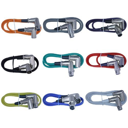 Female Xlr Right Angle - XLR Right Angle Male to Right Angle XLR Female 3ft cable 9 Color Pack
