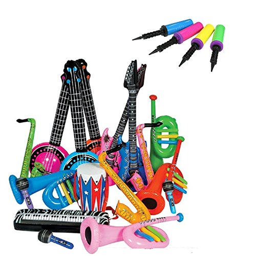 [Rock Band Inflatable Instrument 24pc Set with Balloon Pump Inflator] (Vinyl Rock Star Costumes)