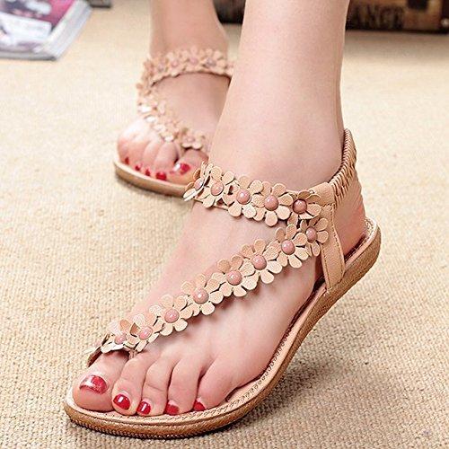 Womens Ankle Flops CYBLING Beach Bohemia Flower Flip Pink Beads Flats Strap Sandals 4CwwcqxHdI