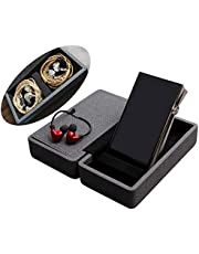 Miter Carrying case for DAP + Earphone, Handmade Italy PU Leather Hard Standing case for 2 IEM Earphones + 1 Digital Audio Player Storage Carry Cover Box (Large Size-Black)