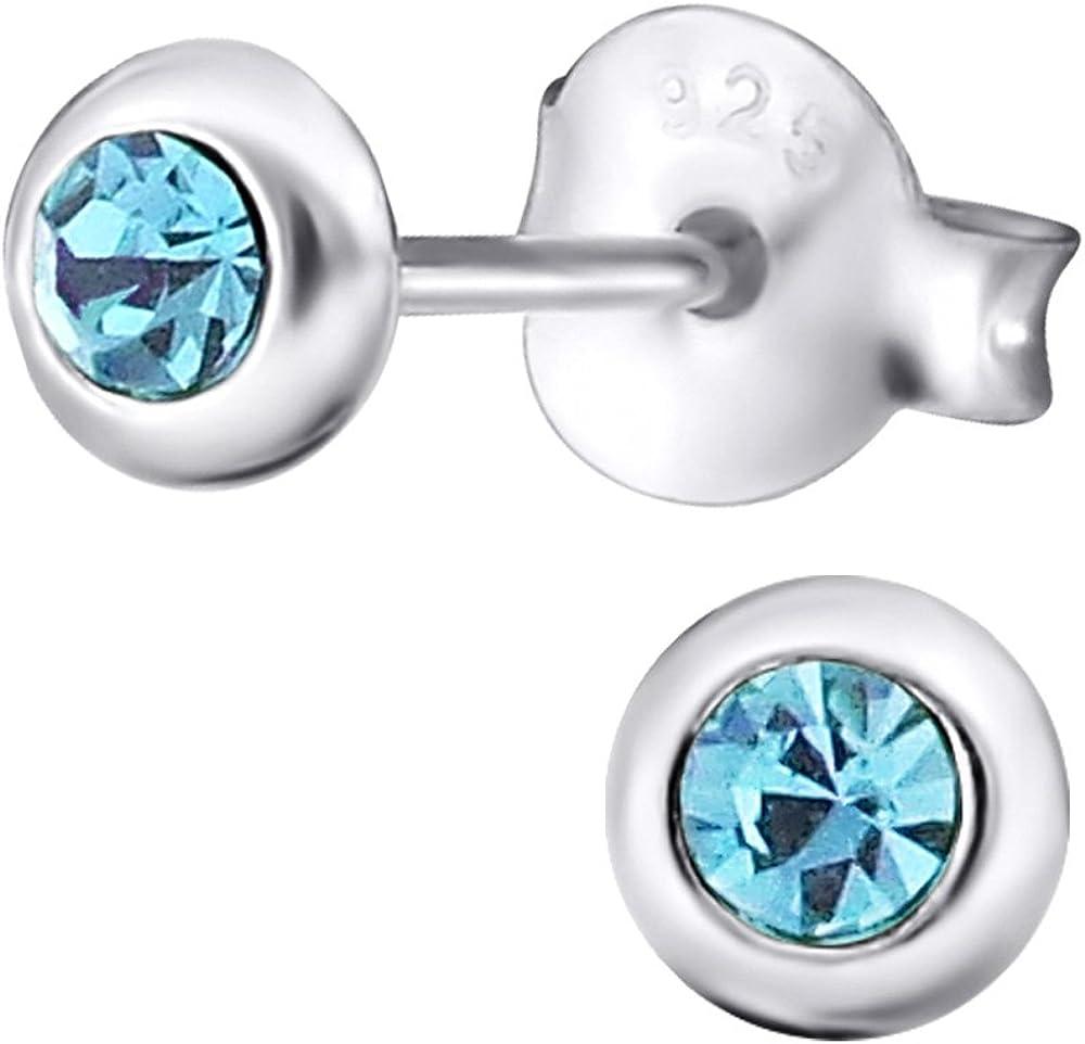 Laimons Pendientes para mujer diseño redondo Azul Claro Brillante Plata de ley 925