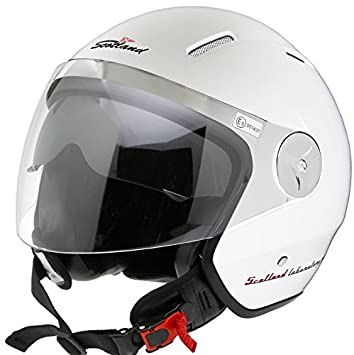 Scotland Casco Moto con visera, color blanco, ...