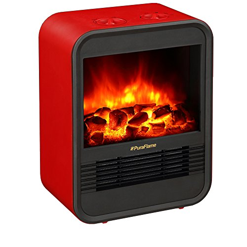 PuraFlame 1250W Clara Red 9 inch Mini Portable electric Heater, Red | amzn_product_post Ceramic Heaters Electric Heater Mini Portable Red