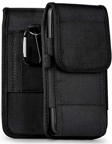 MoEx phone pouch with belt loops compatible with Samsung Galaxy A40 | Velcro + carabiner, Black