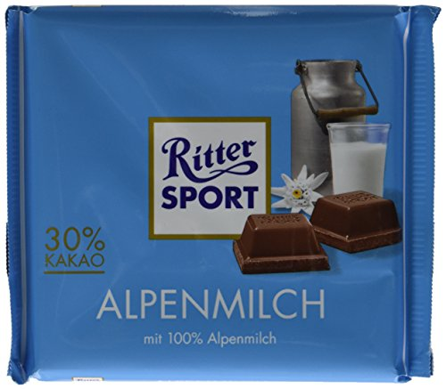 Ritter Sport, Alpine Milk Chocolate, 3.5-Ounce Bars (Pack of 12)