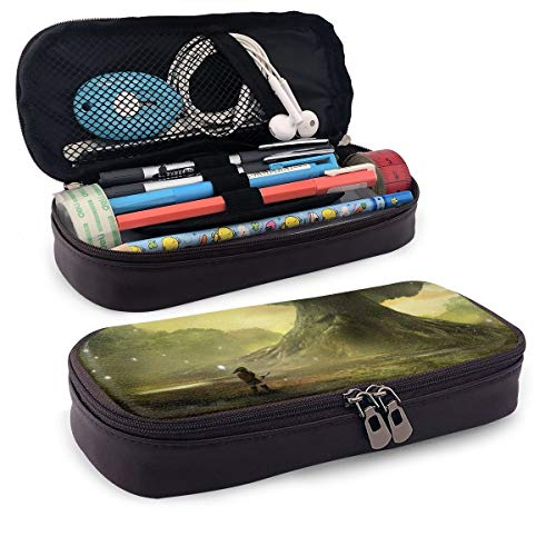 Legend of Zelda Ocarina Time PU Leather Pencil Case with Zipper, Pouch Stationary Bag for Middle High School College Student Office Girls Boys Kids Adult,Storage Bag Makeup Bag (Legend Of Zelda Ocarina Of Time Owl)