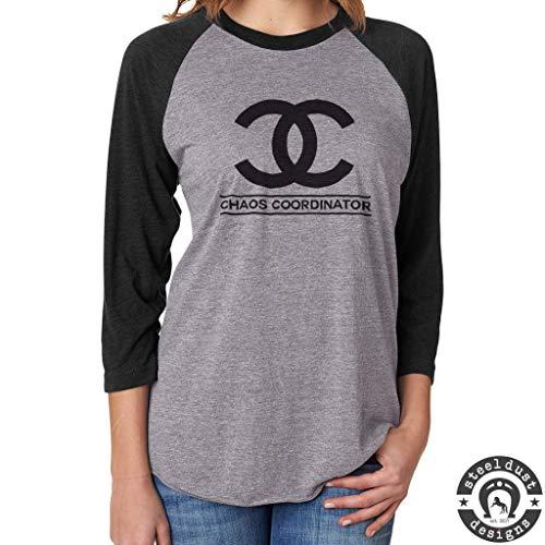 Chaos Coordinator Shirt, Womens Baseball Raglan T-Shirt, Funny Shirt for Mom Teacher by Steel Dust Designs
