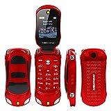 Sports Car Model F15 Mini Flip Phone Dual SIM Card MP3 Backup Phone Best For Kids Students (Red)