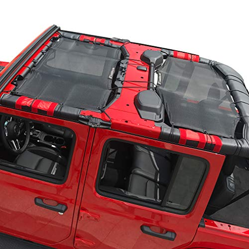 Shadeidea Jeep Wrangler Sun Shade JL Unlimited 4 Door Front and Rear 2 piece-Black Mesh Screen Sunshade JLU Top Cover UV Blocker with Grab Bag-One time Install 10 years Warranty ()
