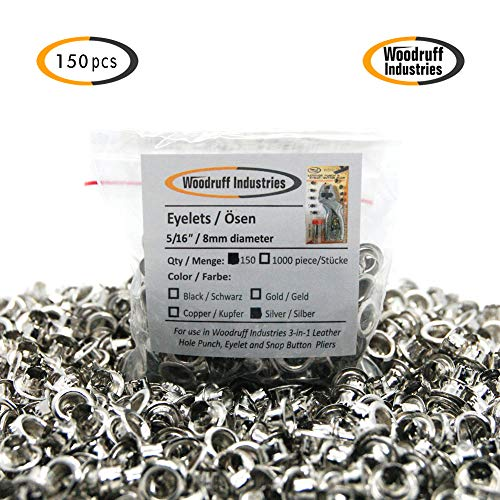 Woodruff Industries 1000 Pieces Eyelet Silver Grommet Kit Durable Iron Metal Nickel Plated 5 mm Hole Clothes and Leather Eyelet for Arts Crafts Scrapbook and Shoe Grommets