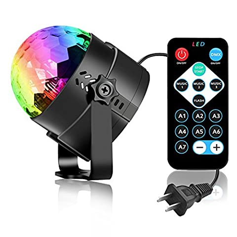 Spriak Led Party lights 2nd Generation Strobe Dance Light 3w Disco ball DJ Lights for Parties 7 Color Sound Activated lamp Karaoke Machine Kids Birthday Gift Stage Home Holiday Party - Fluorescent Step Light