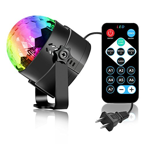Disco Ball Party Lights with Remote Control, Spriak Sound Activated LED Strobe Dance Lamp 7 Color for Birthday Festival Home Karaoke Wedding Parties Bar Stage- 2nd Generation]()