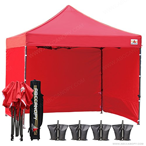 Tent Color Canopy ((18+ colors)AbcCanopy 8ft by 8ft Ez Pop up Canopy Tent Commercial Instant Gazebos with 4 Removable Sides and Roller Bag and 4x Weight Bag (red))