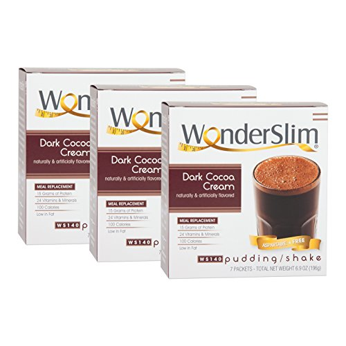 WonderSlim Low-Carb Meal Replacement Weight Loss Shake - Dark Cocoa Cream - 15g Protein Diet Shake & Pudding Mix - 3 Box Value Pack (Save 5%)