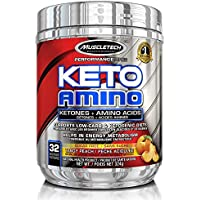 MuscleTech Keto Amino, Exogenous Ketones & Aminos, Tangy Peach, 32 Servings