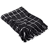 """DII 100% Cotton Checked Throw for Indoor/Outdoor Use Camping BBQ's Beaches Everyday Blanket - 50 x 60"""", Checked Black"""