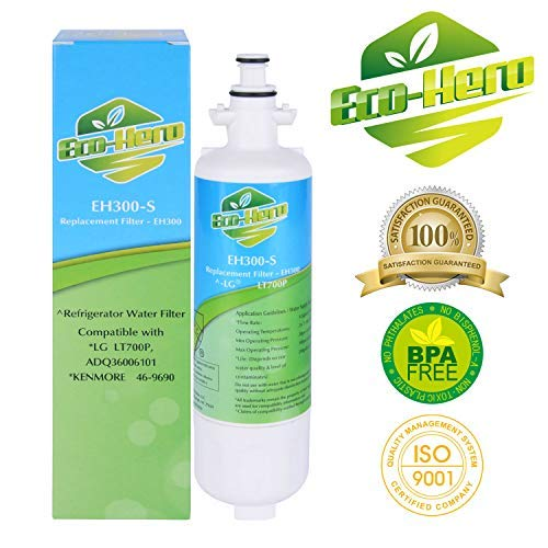 Eco-Hero Premium Coconut Shell Activated Carbon Refrigerator Water Filter, Compatible with LG LT700P & Kenmore 46-9690 - Replacement for 469690, ADQ36006101 & More (NSF/ANSI42 & NSF/ANSI372 Certified)