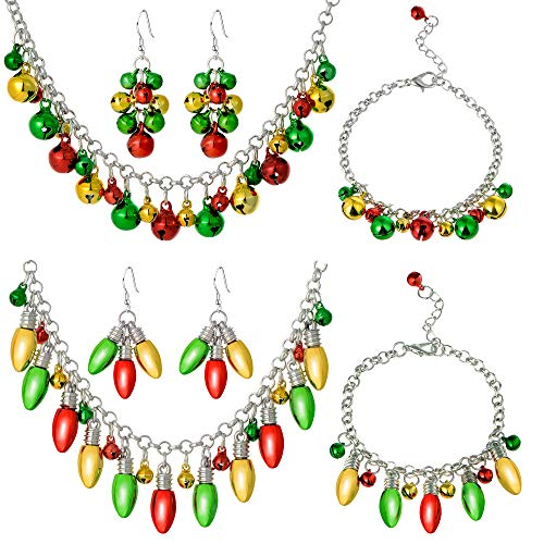 Christmas Light Bulb Jingle Bell Necklace Jewelry Set Gift for Women Girls - Xmas Chain Link Bracelet Drops Dangle Earrings for Women, Multicolor Ornament Festive Holiday Jewelry Set (6Pcs) ()
