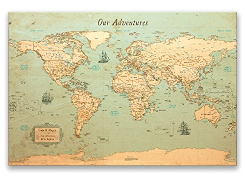 KR Maps Personalized Push Pin World Travel Map - Rustic Style (24x -