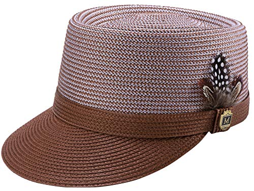 MONTIQUE Braided Legionnaire Designer Two Tone Hat with Feather and Pin H67 (Large, Caramel)