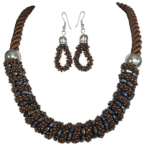 Gypsy Jewels Twisted Thread Iridescent Bead Wrapped Necklace Earrings Set (Brown)