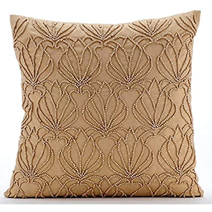 The HomeCentric Handmade Gold Decorative Pillows Cover, Modern Floral Cushion Covers, 12