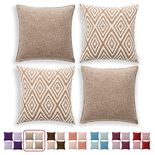 hpuk Decorative Pillow Covers Couch Pillow Covers Throw Pillow Covers for Couch, Sofa, Bed, 17x17 Inch Set of 4 Polyester Farmhouse Pillow Covers, Light Brown