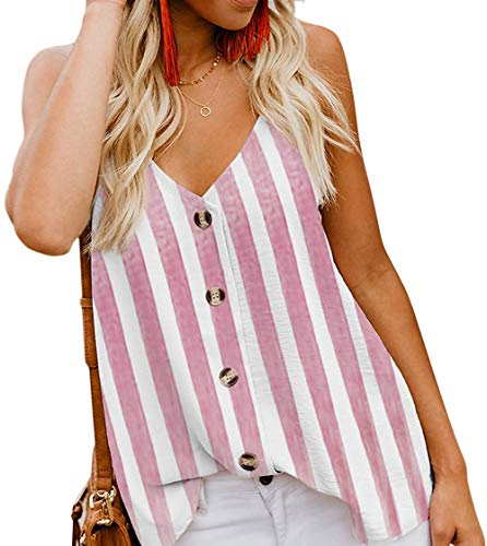 (Angerella Women's Sexy Vertical Stripes V Neck Strappy Tank Tops Casual Sleeveless Shirts Pink,L)