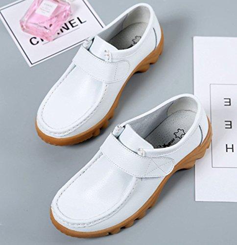 NEWZCERS Women's Loafer Flats Weiß IiJ6jD7