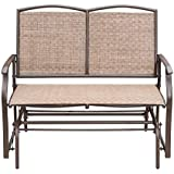 Leissu Outdoor Swing Glider Bench, Porch Chair, Patio Loveseat for 2 Persons,Rocking Chairs (Brown)