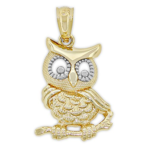 Charm America - Gold Wise Owl on Branch Charm - 14 Karat Solid Gold