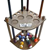 Iszy Billiards 8 Cue Stick Pool Table Ball Floor Rack with Scorer, Oak Finish
