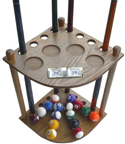 8 Cue Stick Pool Table Ball Floor Rack with Scorer, Oak (Pool Ball Counter)