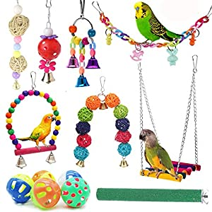12 Packs Bird Toys Parrot Swing Toys – Chewing Hanging Bell Pet Birds Cage Toys Suitable for Small Parakeets, Conures…